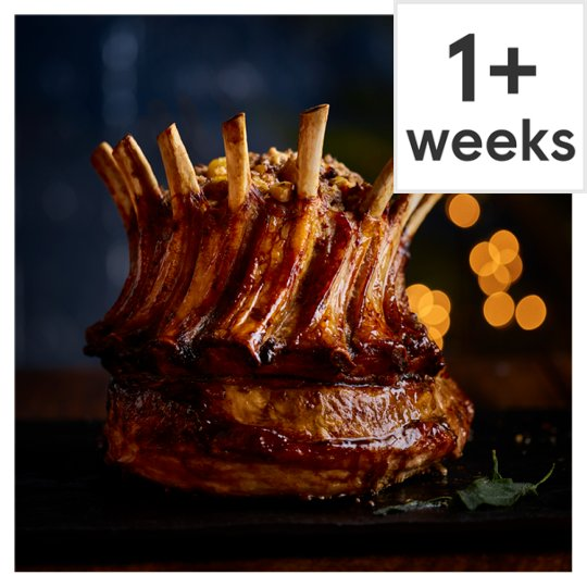 Tesco Finest Outdoor Bred Pork Crown with Bramley Apple & Chestnut Stuffing, Jus and Crackling 3.1kg-3.9kg, Serves 10