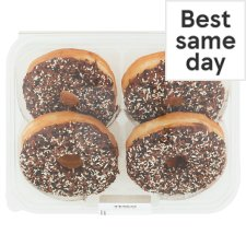 Tesco Chocolate Iced Ring Doughnuts 4 Pack
