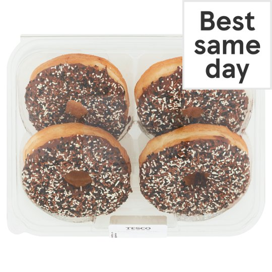 image 1 of Tesco Chocolate Iced Ring Doughnuts 4 Pack