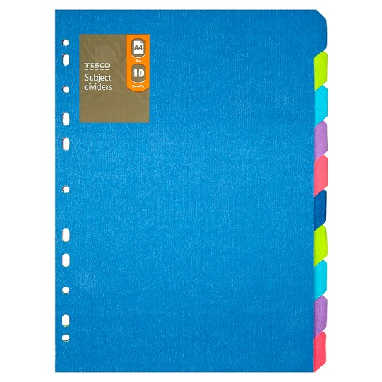 Tesco Subject Dividers 10 Part