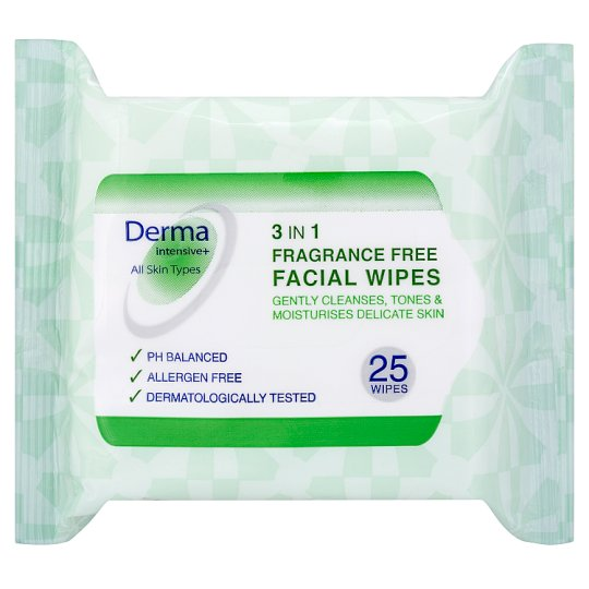 Derma Intensive 3In1 Fragrance Free Wipes 25