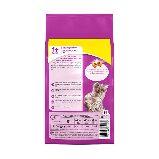 Whiskas 1+ Dry Cat Food Biscuits Chicken & Veg 2kg