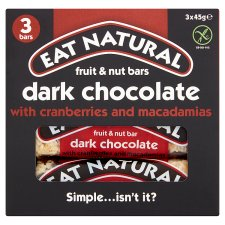 Eat Natural Dark Chocolate Cranberry And Macadamia Bars 3X45g