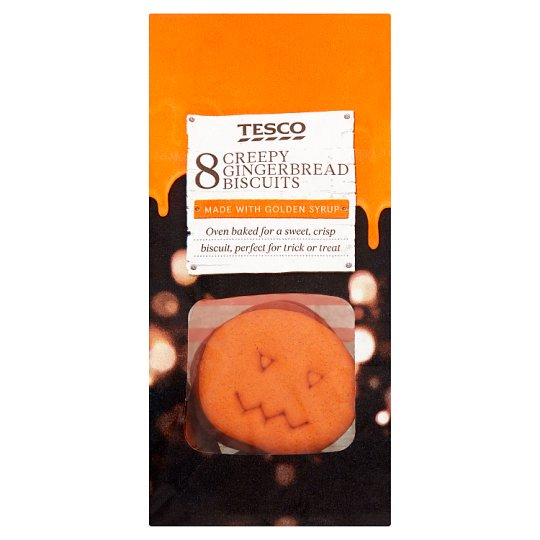 Tesco Gingerbread Pumpkin Shapes 8 Biscuits