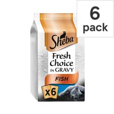 Sheba Fish In Gravy Cat Food Pouches 6 X50g