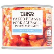 Tesco Baked Beans And Pork Sausages In Tomato Sauce 220G