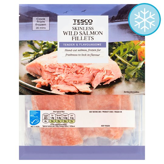 Tesco 4 Skinless Wild Alaskan Salmon Fillets 360G