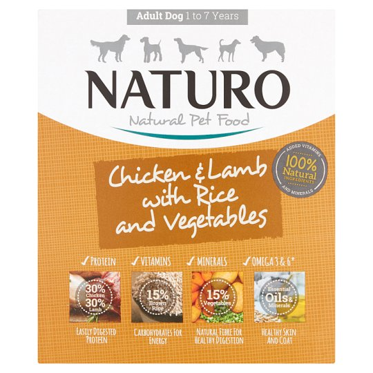 Naturo Adult Chicken Lamb Rice Vegetable Dog Food Tray 400G