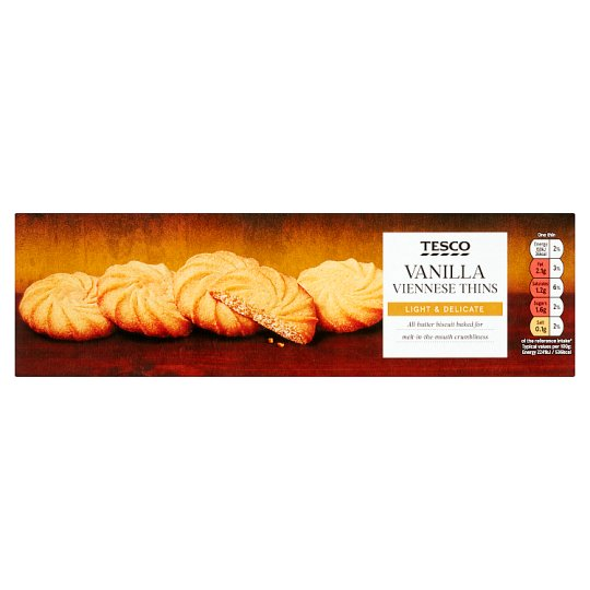 Tesco Vanilla Viennese Biscuits Thins 125G