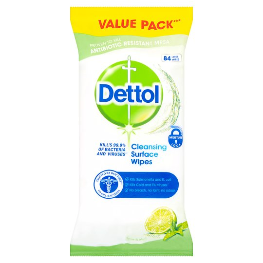 Dettol Surface Cleanser Lime Mint 84 Antibacterial Wipes