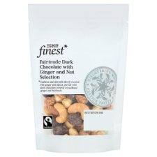 Tesco Finest Fairtrade Dark Chocolate And Ginger Nuts 225G