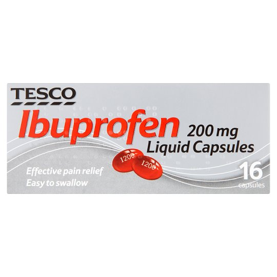 Tesco Ibuprofen 200Mg Liquid Caps 16S