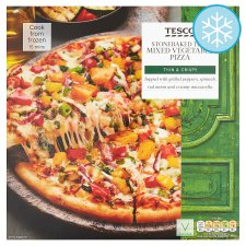 Tesco Stonebaked Thin Mediterranean Vegetable Pizza 390G