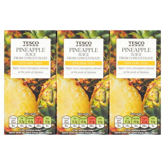 Tesco Pineapple Juice 3X200ml