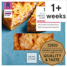 Tesco Reduced Fat Cheese And Bacon Crustless Quiche 160G