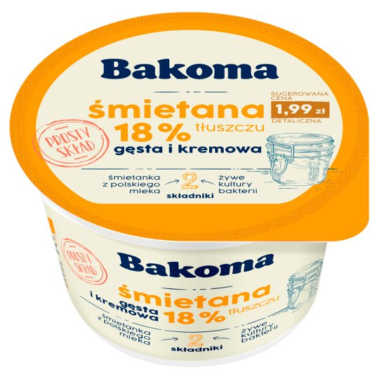 Bakoma Sour Cream 18% Fat 175G
