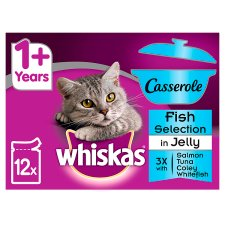 Whiskas 1+ Casserole Fish Selection Cat Pouches 12 X85g