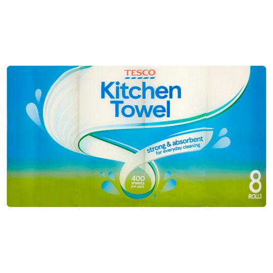 Tesco Kitchen Towel White 8 Roll