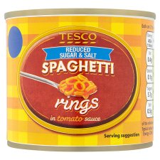 Tesco Reduced Sugar And Salt Spaghetti Rings 210G