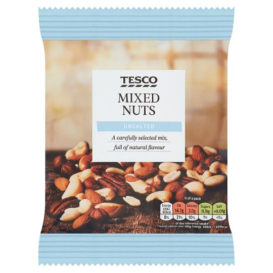 Tesco Unsalted Mixed Nuts Snacks 200 G