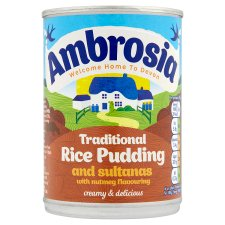 Ambrosia Creamed Rice Sultanas And Nutmeg 400G Tin