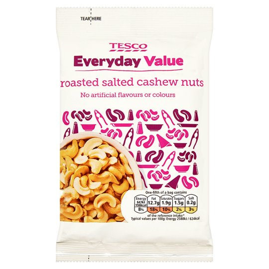 Tesco Everyday Value Roasted And Salted Cashew Nuts 125G