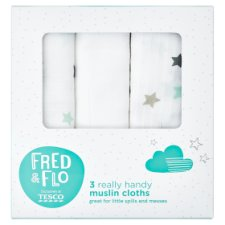 Tesco Fred And Flo 3 Pack Star Muslin Cloths