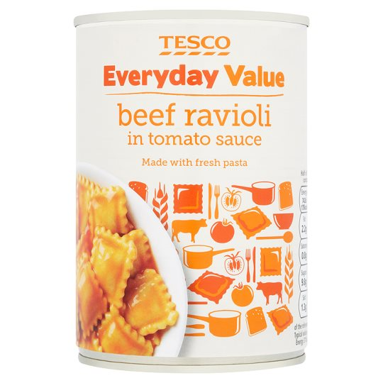 Tesco E/Day Value Beef Ravioli In Tomato Sauce 400G