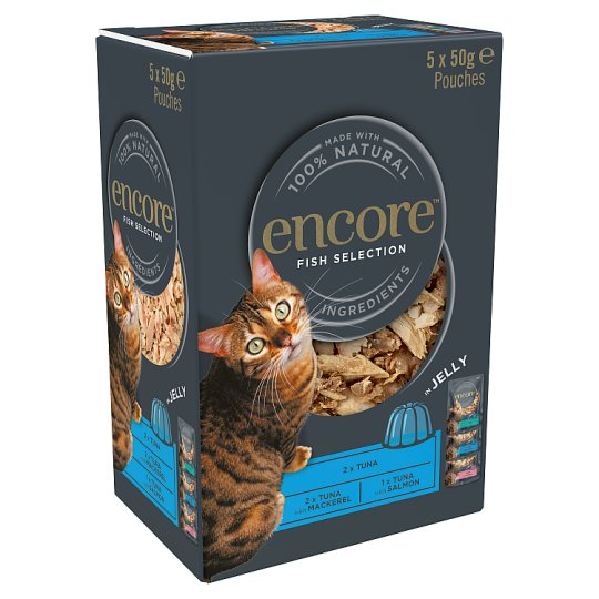 image 1 of Encore Cat Food Fish Jelly Pouches 5X50g