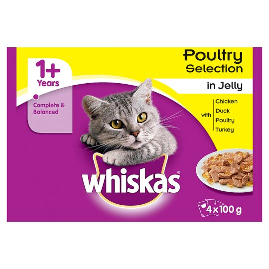 image 1 of Whiskas 1+ Pouch Poultry Selection In Jelly 4X100g