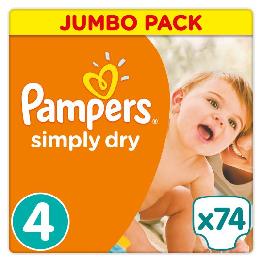 Pampers Simply Dry Size 4 Jumbo Pack 74 Nappies