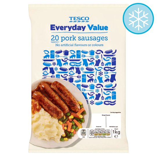 Tesco Everyday Value 20 Pork Sausages 1Kg