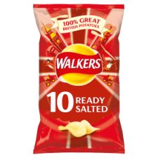 Walkers Ready Salted Crisps 10 X 25G