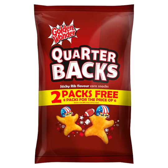 Golden Wonder Quarter Backs Sticky Rib Snacks 8X16g