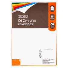 Tesco C6 Coloured Envelopes 25Pk