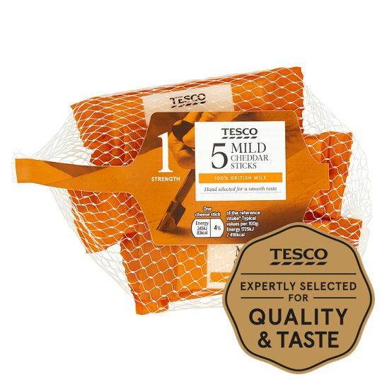Tesco British Mild Cheddar Snack Sticks 5X20g