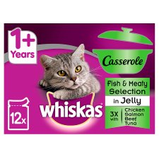 Whiskas 1+ Casserole Fish Meat Cat Pouches 12 X85g