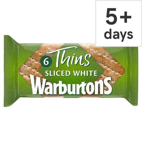 Warburtons White Sandwich Thins 6 Pack