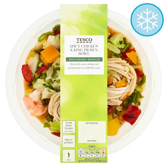 Tesco Spicy Chicken And King Prwn Noodles Bowl 375G