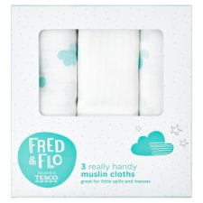 Tesco Fred And Flo 3 Pack Farm Muslin Cloths