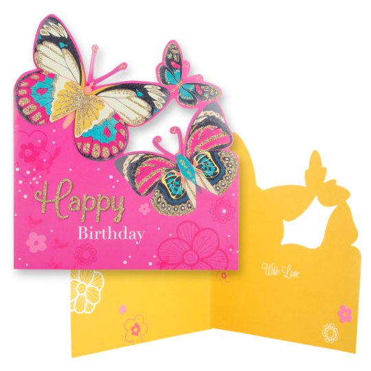 Tesco Birthday Card Happy Birthday Butterflies