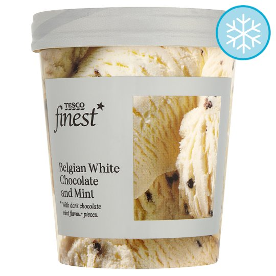 Tesco Finest Belgian White Chocolate And Mint Ice Cream 500Ml