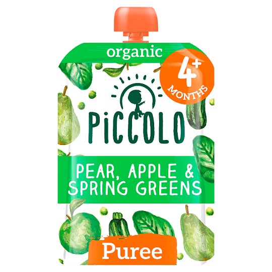Piccolo Organic Pear Apple And Spring Greens 100G
