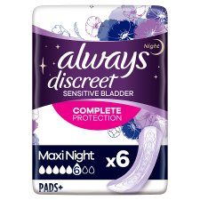 Always Discreet Maxi Night Time Incontinence Pads 6 Pack