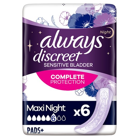 image 1 of Always Discreet Maxi Night Time Incontinence Pads 6 Pack