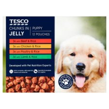 Tesco Chunks In Jelly Puppy Pouch 12X100g
