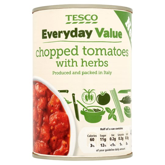 Tesco Everyday Value Chopped Tomato With Herbs 400G