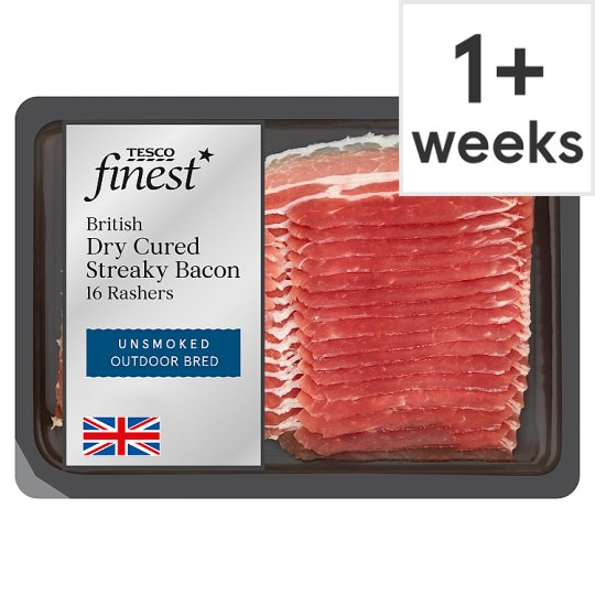 Tesco Finest Unsmoked Drycure Streaky Bacon 240G