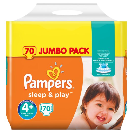 Pampers Simply Dry Size 4+ Jumbo Pack 70 Nappies