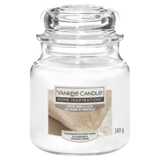 Yankee Medium Jar White Linen And Lace